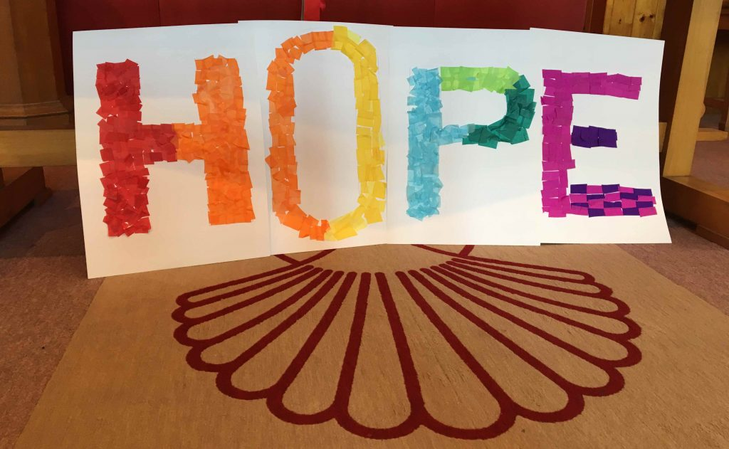The Junior Church used the colours of the rainbow - the sign given to Noah - to spell out the word Hope